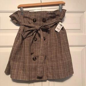 Paperbag Waist Plaid Skirt